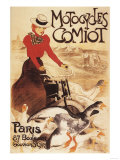 Paris, France - Comiot Motocycles Woman and Geese Promo Poster Posters par  Lantern Press