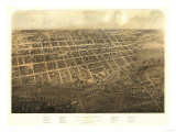 Marshall, Michigan - Panoramic Map Print by  Lantern Press