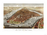 New York City, New York - Panoramic Map No. 1 Print by  Lantern Press