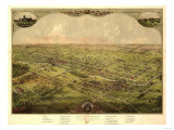 Lansing, Michigan - Panoramic Map Posters by  Lantern Press