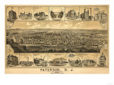 Paterson, New Jersey - Panoramic Map Posters