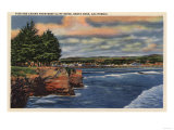 Santa Cruz, California - West Cliff Drive View of Pier and Casino Posters by  Lantern Press