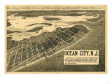 Ocean City, New Jersey - Panoramic Map Posters by  Lantern Press