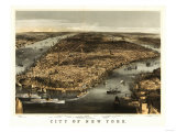 New York City, New York - Panoramic Map Posters