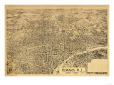 Newark, New Jersey - Panoramic Map Posters