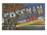 Monticello, Indiana - Freeman Lake Plakat autor Lantern Press