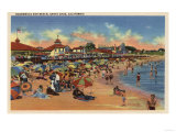 Santa Cruz, CA - Sunbathers & Swimmers on Boardwalk & Beach Posters by  Lantern Press
