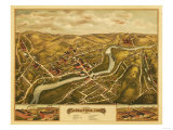 Naugatuck, Connecticut - Panoramic Map Print by  Lantern Press