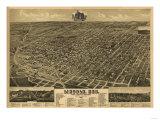 Lincoln, Nebraska - Panoramic Map Poster