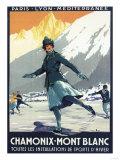 Chamonix Mont-Blanc, France - Ice Skating Giclee-tryk i høj kvalitet af  Lantern Press