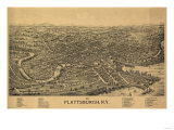 Plattsburgh, New York - Panoramic Map Posters