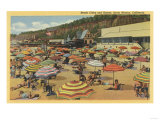 Santa Monica, California - View of the Beach with Clubs and Homes Posters