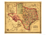 Texas - Panoramic Map Poster