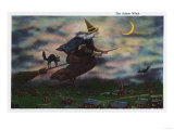 Salem, Massachusetts - View of the Salem Witch on her Broom Poster by  Lantern Press