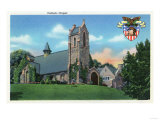 West Point, New York - Exterior View of the Catholic Chapel Plakat af  Lantern Press