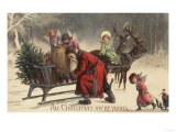 Christmas Greeting - Santa and Sleigh Print