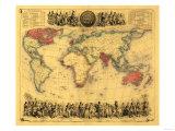 World Map Showing British Empire - Panoramic Map Plakater av  Lantern Press