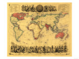 World Map Showing British Empire - Panoramic Map Posters by  Lantern Press