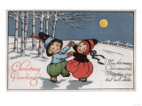 Christmas Greetings - Couple Dancing in Moonlight Posters by  Lantern Press