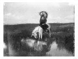 Lantern Press - Cheyenne Indian, Wearing Headdress, on Horseback Photograph Plakát