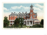 Worcester, Massachusetts - Exterior View of St. Vincent Hospital Print