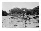 Boys Salmon Fishing in Canoe Photograph - Alaska Print