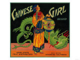 Chinese Girl Orange Label - Riverside, CA Posters by  Lantern Press