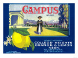 Campus Lemon Label - Claremont, CA Posters by  Lantern Press