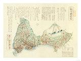 Shizuoka-ken, Japan - Panoramic Map Poster