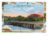 York, Maine - View of Sewall's Bridge and Clubhouse Poster by  Lantern Press