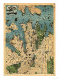 Sydney, Australia - Panoramic Map Prints by  Lantern Press