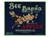Bee Apple Crate Label - San Francisco, CA Posters by  Lantern Press