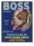 Boss Vegetable Label - Salinas, CA Prints by  Lantern Press