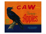 Caw Apple Crate Label - Medford, OR Print by  Lantern Press