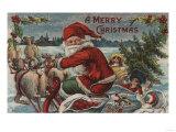 Christmas Greeting - Santa on Sleigh Print