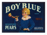 Boy Blue Pear Crate Label - Wenatchee, WA Poster
