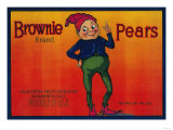 Brownie Pear Crate Label - Sacramento, CA Posters