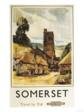 Somerset, England - Historic Village Scene British Railway Poster Posters