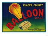 Balloon Pear Crate Label - Los Angeles, CA Posters