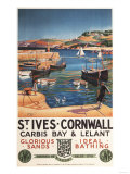 St. Ives, England - Harbor Scene with Girl and Gulls Railway Poster Poster by  Lantern Press