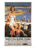 Weston-super-Mare, England - Mother & Son on Beach Railway Poster Print by  Lantern Press