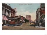 Stockton, California - Main Street View with Street Car Print by  Lantern Press
