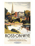 Ross-on-Wye, England - River Scene of Town British Railways Poster Posters