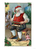 Christmas Greeting - Santa Building Sled Posters