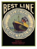 Best Line Vegetable Label - Fresno, CA Posters by  Lantern Press
