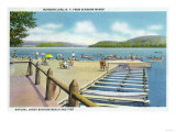 Schroon Lake, New York - View of Beach and Pier from Scaroon Manor Posters by  Lantern Press