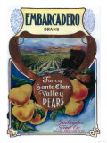 San Jose, California - Embarcadero Pear Label Posters by  Lantern Press