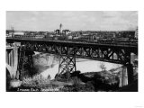 Spokane, Washington - View of Spokane Falls and Bridge Poster by  Lantern Press