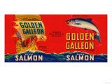 Golden Galleon Brand Salmon Label - Seattle, WA Posters