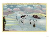Sun Valley, ID - Sawtooth Mnts. Riding Ski Tramway up Dollar Mnt. Print